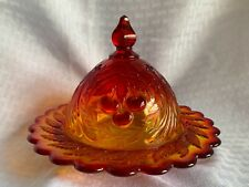 VINTAGE L.G. WRIGHT THREE CHERRY - AMBERINA COVERED BUTTER / CHEESE DISH 1970's