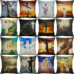 "18"" God Cross Jesus pillow case Cotton Linen Cushion Cover Sofa Home Decor"