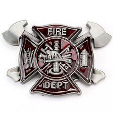 Fire Department  Firefighter Dept and Axes belt Buckle Emergency Rescue Fireman