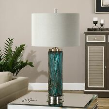 "NEW DESIGNER XL 30"" BLUE GLASS TABLE LAMP BRUSHED NICKEL METAL LINEN SHADE"