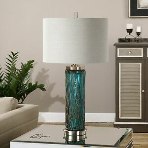 "DESIGNER INSPIRED 30"" BLUE GLASS TABLE LAMP BRUSHED NICKEL METAL LINEN SHADE"
