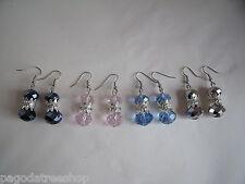 New Glass Crystal Bead & Diamante Drop Earrings - Silver Black Pink or Blue