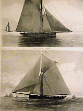 Atlantic v. New York Yacht Race Regatta MAYFLOWER 1886 Antique Art Print Matted