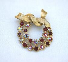 Vintage Red Aurora Borealis Rhinestone Wreath Design Gold Tone Pin Brooch