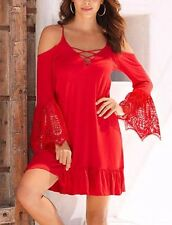 Red Lace Up V Neck Long Boho Floral Lace Bell Sleeve Ruffle Hem Dress 220037 Md