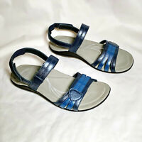 Abeo BioSystem Brynn Women's Two-Tone Blue Leather Adjustable Sandals Size 9.5N