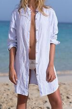 ORIZZONTE PORTOFINO by XACUS Button -Up Linen Shirt Dress Cover Up Size M medium