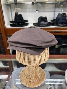 wigens brown 100% linen summer newsboy cap size 62 7 3/4