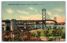 Mid-1900s Ambassador Bridge, Windsor, Canada to Detroit, MI Postcard
