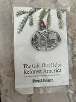 NEW Plow & Hearth Pewter Snowman Cabin House Christmas Ornament Reforest America