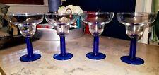4 Margarita Glasses Clear Cup w/ Beaded Cobalt Blue Stem