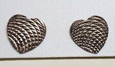ANCIENS BIJOUX BOUCLES D'OREILLES COEUR HEART CISELÉ ARGENT MASSIF SILVER T0