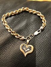TRI-COLORED ROPE BRACELET w/ HEART CHARM 14K Yellow White Rose Real Gold 8""