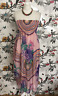 *BNWT* Pink Floral Floaty Silk Strappy Bandeau Midi Dress Size 12 1960s Party