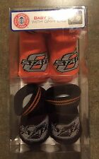 New Oklahoma State Cowboys Baby Socks Grippers Size 0-12 Months Booties Skidders
