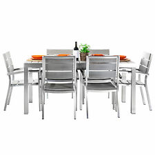 Tavolo alluminio allungabile + 6 sedie per esterno giardino top legno polywood