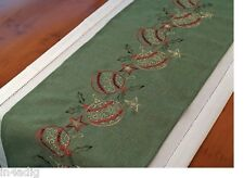 "Christmas Embroidered Baubles Green Table Runner 14"" x 90"""