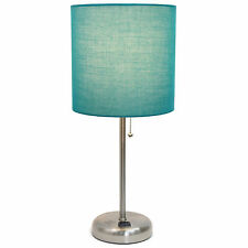 Teal Bed Side Stick Lamp Desk Table Fabric Shade Charging Outlet Night Light New