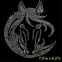 Horse Face Rhinestone/Diamante Transfer Hotfix Iron on Motif Appliqué in crystal