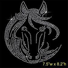 Horse Face Rhinestone/Diamante Transfer Hotfix Iron on Motif Appliqué in crystal