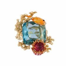 BRAND NEW LES NEREIDES ATLANTIDE FISH ANEMONE AND CORALS ON BLUE STONE RING