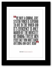 MARK TWAIN Huckleberry Finn ❤ typography book THE LAW legal poster print #213
