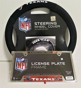 HOUSTON TEXANS SUEDE AND MESH STEERING WHEEL COVER AND LICENSE PLATE FRAME