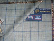"SUPER 150's WOOL SUITING FABRIC Prince of Wales Check with Blue""Overcheck""-3.66m"