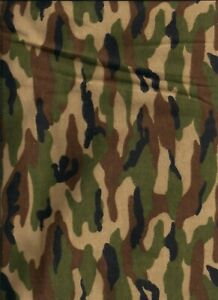 New Green Camo 100% Cotton Flannel Fabric by the Yard