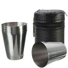 4pcs Stainless Steel Camping Travel Tumbler Cup Mug Drinking Coffee Beer With Co
