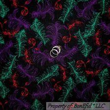 BonEful Fabric FQ Cotton Quilt Black Red Purple Mardi Gras Feather Scroll Calico