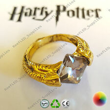 Harry Potter Deathly Horcruxes Resurrection Stone Gold Crystal Ring Pale UK Film