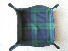 Cloth Bread Basket Green Blue Plaid Tied Snap Design easy to store