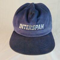 Vintage Corduroy Snapback Hat Cap - Interspan - Blue