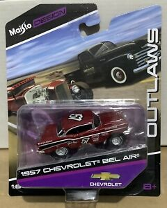 1:64 MAISTO DESIGN OUTLAWS 1957 CHEVROLET BEL AIR V8 CHEVY DRAG CAR GASSER #57