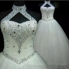 White ivory Halter Beading Crystal Wedding Dress A Line Bridal Gown Custom size