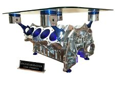 V8 Engine Block Coffee Table - CHROME AND BLUE