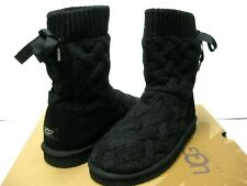 UGG ISLA CABLE KNIT WOMEN SHORT BOOTS HEATHER BLACK US 9 /UK 7 /EU 40