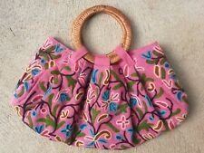 Earth Divas Fair Trade Embroidered Multi Floral Pink Ring Handle Purse Hand Bag