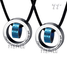 Top Quality TT Blue Stainless Steel Love Pendant Necklace For Couple Engravable