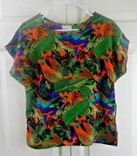 TR Bentley Women's Cap Sleeve Shirt Size MEDIUM Floral Green Blouse     (*SS034)