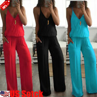 Womens Summer Sexy V Neck Sleeveless Jumpsuit Loose Wide Leg Pants Suit Playsuit