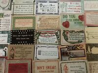 Lot of 30 VINTAGE old GREETING postcards ART CRAFTS Sayings MOTTO mottos-a487