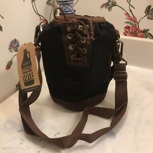 Waxed Canvas Growler Tote Black Adjustable Shoulder Strap Holds 64oz NWT