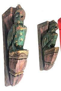 Vintage Wooden Peacock Pair Corbel Bracket Sculpture Shelf Decor Rare Wall Art
