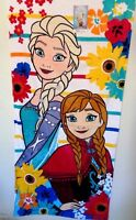 "Disney Frozen Anna Elsa Beach Towel Pool Bath Olaf Cotton 28"" x 58"" NEW Summer"