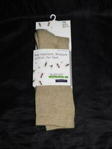Exofficio L Khaki Brown NEW Buzz Off Hiker Socks Calf Insect Shield 9-12 Mens Lg