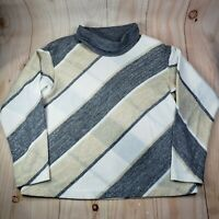 Vintage Choice Womens Turtleneck Colorblock Longsleeves Sweater Size Large Gray