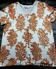 Quacker Factory Women Top Sweater Short Sleeve Studded Bling Button Size Large