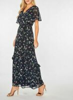 RRP£45 Dorothy Perkins DP Womens Navy Blue Ditsy Floral V Neck Maxi Dress